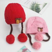 婴儿帽子冬季毛线帽0-1岁女宝宝公主假发针织帽潮2秋冬天女童帽子