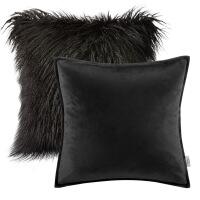 抱枕两件套ins纯色沙发靠垫套客厅卧室毛绒粉色式靠枕