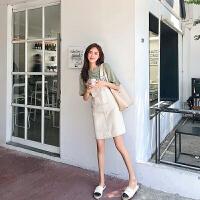 卡贝琳女2019新款减龄背带裙套装可爱学生韩版洋气中长款牛仔背带裙女夏小个子裙子女套装