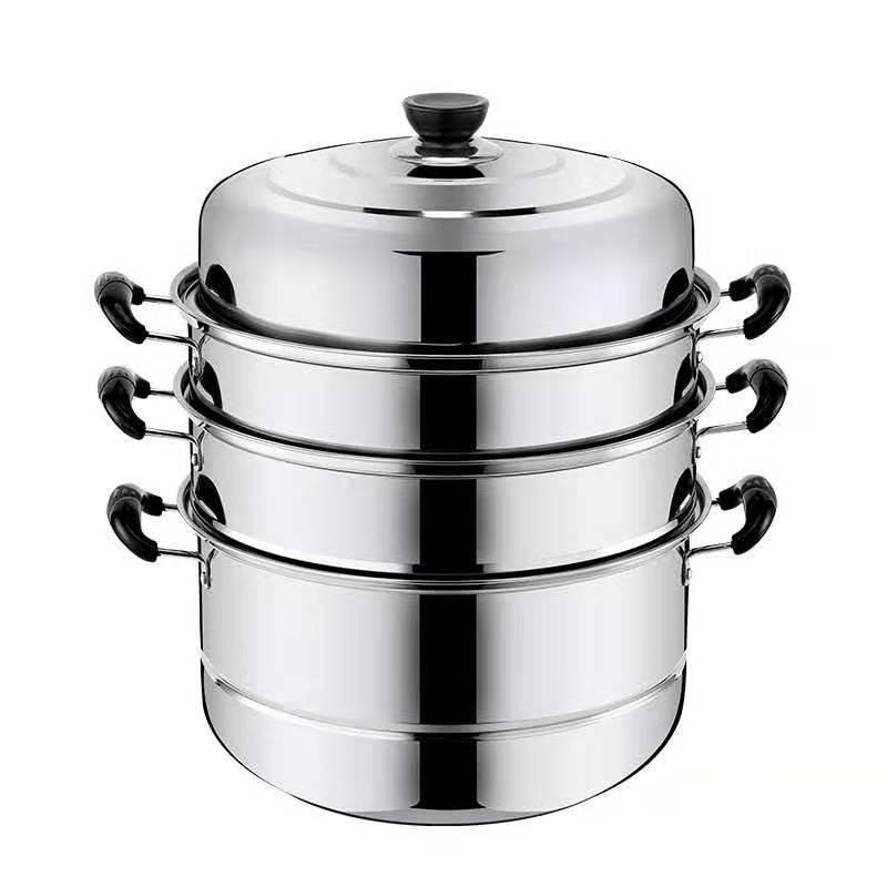 32cm三层加厚不锈钢蒸锅家用不锈钢锅双层汤锅蒸馒头包子锅具不锈钢蒸锅