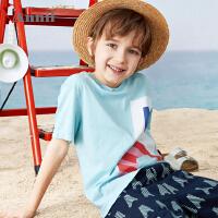 【2件4折价:135.6】安奈儿男童夏季套装洋气T恤短裤两件套2021新款中大童薄款童装夏