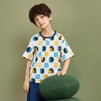 【2件3折:47.7元】小虎宝儿男童纯棉家居服套装2021夏装新款儿童短袖两件套中大童潮