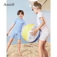 【2件4折价:119.6】安奈儿童装男女童分体泳衣套装2021夏新款防晒沙滩宝宝泳装三件套