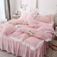 床上四件套冬季珊瑚绒法兰绒双面绒三件套被套床单床裙加厚水晶绒定制