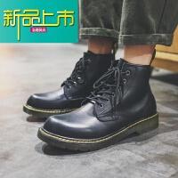 新品上市马丁靴男靴子18新款男鞋春夏真皮英伦皮靴短靴高帮工装靴潮 s118黑色