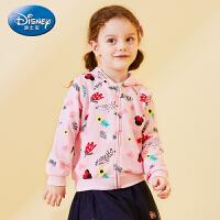 迪士尼童装2020新款儿童女可爱甜美上衣拉链衫女童春装连帽外套