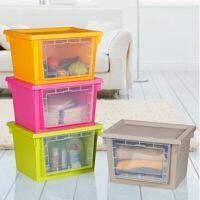 炫彩透明窗带盖收纳箱大号衣服收纳箱塑料整理箱衣物收纳盒有盖储物箱 可叠加收纳柜