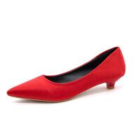 女士低跟3cm高跟鞋尖头细跟黑色职业工作鞋中跟舒适猫跟四季单鞋