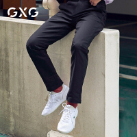 GXG男装 秋季男士韩版潮流时尚黑色直筒裤子男休闲裤长裤