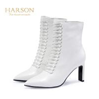 哈森 冬尖头系带瘦脚女靴 牛皮革拉链细高跟短靴女HA81419