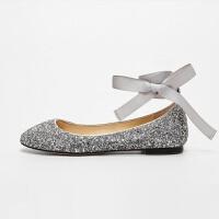 单鞋2018新款芭蕾舞仙女水晶女鞋平底鞋交叉绑带亮片婚鞋伴娘鞋 银色