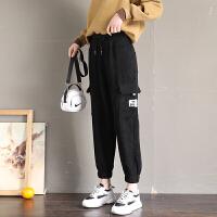 灯芯绒裤子女秋冬新款条绒裤休闲工装裤显瘦宽松加绒运动女裤