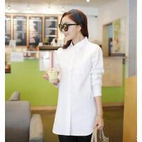 韩版女长袖大码百搭宽松打底衫白衬衣新款个性时尚休闲棉麻中长款衬衫