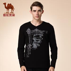骆驼男装 新品冬款青年V领纯色打底衫 烫钻活力休闲长袖T恤男