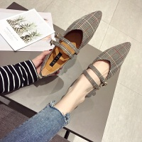 晚晚鞋2019新款系英伦鞋女学院风平底鞋尖头复古单鞋格子鞋