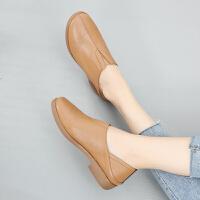 春款平底休闲懒人鞋一脚蹬软底妈妈鞋舒适深口软底软面单鞋小皮鞋