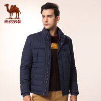 骆驼男装 新品秋款青年纯色立领商务休闲长袖外套棉服男