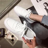 运动鞋女鞋2019新款时尚圆头厚底系带小白鞋学生跑步休闲鞋女鞋
