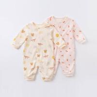 戴维贝拉男女宝宝连体衣2020秋装新款新生儿纯棉连身衣婴儿爬爬服