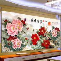 十字绣客厅新款牡丹花开富贵江山如画1.5米2米2.4米版大幅满绣