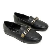 黑色小皮鞋女秋工作韩版豆豆鞋秋冬加绒平底大码女鞋40 单鞋