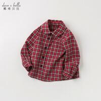 [2件3折价:71.1]davebella戴维贝拉春装新款男童全棉衬衣宝宝格子衬衫DB11764