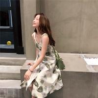 新款连衣裙 夏季树叶印花蝴蝶结绑带单排扣棉麻背带裙韩版中长连衣裙 杏色 均码