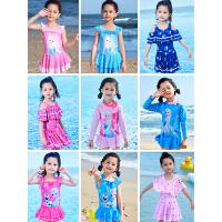 女孩连体长袖防晒女童游泳衣小童中大童
