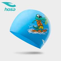 hosa浩沙泳帽女童男童硅胶泳帽儿童2019春夏新款防水护耳卡通印花