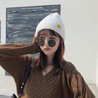 帽子女秋冬毛线帽女ins日系可爱时尚黑色保暖护耳笑脸针织帽男潮