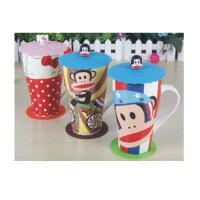 陆捌壹肆 hellokitty陶瓷骨瓷杯子 大容量卡通马克杯咖啡杯水杯牛奶杯带盖 一个装