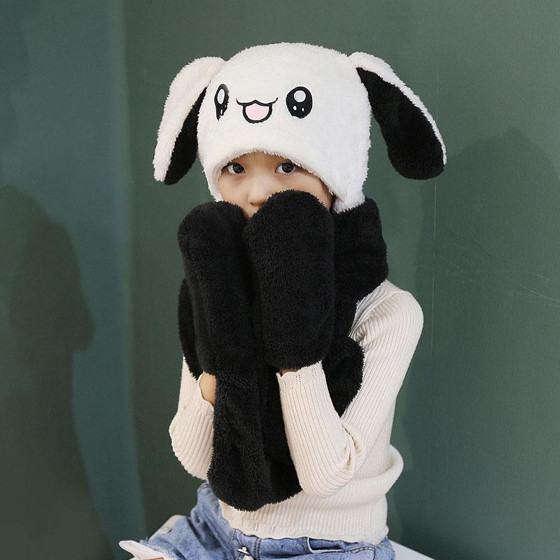 儿童帽子 女童秋冬款卡通可爱加厚保暖兔耳朵会动的帽子儿童帽子围巾手套三件套 兔耳朵会动的帽子儿童帽子围巾手套三件套