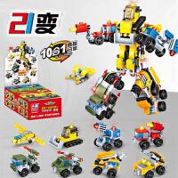 兼容乐高积木拼装3儿童益智力6军事警察7城市8玩具车12周岁男孩子