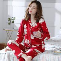 睡衣女春秋款纯棉长袖秋冬薄款红色本命年全棉秋季家居服两件套装