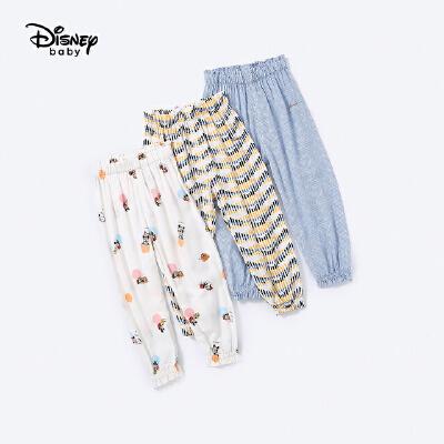 【超品日2件3折价:47.7元,可叠加】迪士尼童装快乐星球女童梭织俏皮防蚊裤夏季裤子新款