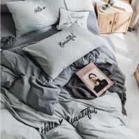 四件套全棉纯棉简约网红床单四件套字母刺绣少女心四件套1.5m1.8m