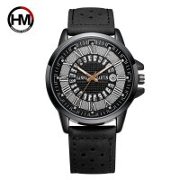罗马数字男士新款创意日历透气皮带石英手表休闲防水男表