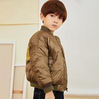 【5折券预估价:294.5元】马拉丁童装男童羽绒服冬装新款立领休闲羽绒夹克短外套