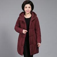 妈妈冬装羽绒女中长款40岁50中年大码棉衣中老年女装棉袄外套