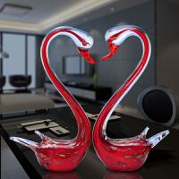 水晶透明玻璃摆件情侣工艺品天鹅摆设客厅酒架玄关装饰摆放礼物 栗色 水晶天鹅红色一对