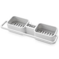 厨房创意水龙头沥水篮置物架水池水槽抹布挂篮洗碗布海绵收纳神器 灰色