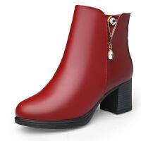 中老年女士妈妈鞋保暖加绒棉鞋中粗跟时尚短靴舒适滑女靴鞋