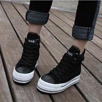 内增高魔术贴布鞋子秋夏厚底松糕鞋高帮鞋黑色帆布鞋女韩版潮