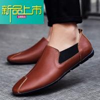 新品上市皮鞋男春季19新款�n版百搭豆豆鞋男夏天�腥诵�真皮�面皮男大�a