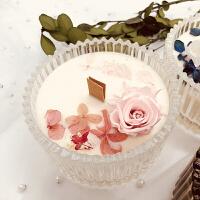香薰蜡烛永生花干花进口精油天然大豆植物蜡生日礼物蜡烛摆件 大 白色杯。桃之夭夭