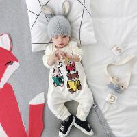 婴儿衣服春季外出服抱衣新生儿宝宝婴儿长袖连体衣儿童哈衣潮