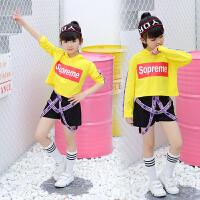 女童爵士舞演出服套装夏季少儿嘻哈街舞表演服短袖儿童舞蹈服