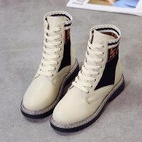 2018新款秋冬女靴子欧美英伦马丁靴时尚短靴中跟增高女鞋子高帮鞋