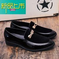 新品上市男生皮鞋韩版潮流英伦休闲豆豆鞋磨砂型师百搭尖头小皮鞋一脚蹬 黑色