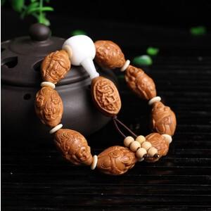 橄榄八大财神佛珠手串橄榄胡苏工南工名家精雕八方来财手链拍卖